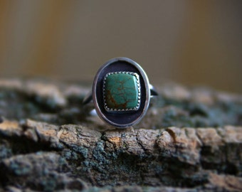 Turquoise Ring, Sterling Silver turquoise Ring, Fox mine turquoise, green turquoise ring, green stone jewelry, square silver ring