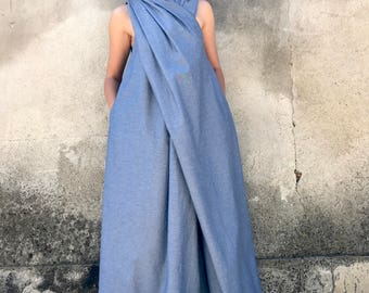 Denim Jumpsuit, Women Jumpsuit, Denim Maxi Dress, Extravagant Jumpsuit, Japanese Clothing, Plus Size Jumpsuit, Cotton Dress, Summer Jumpsuit