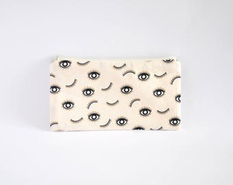 Small Zipper Pouch, Zipper Bag, Makeup Pouch, Cosmetic Pouch, Coin Purse, Bag Storage Organiser - Eyes On Beige