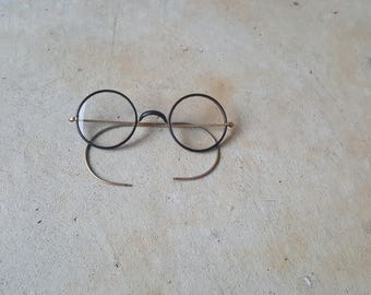 Victorian Vintage Wire Rim Eyeglasses with Bakelite Frame and Gold Fill Earpieces