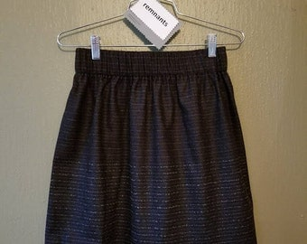Flannel Stripe Mini Skirt, Navy and charcoal gray