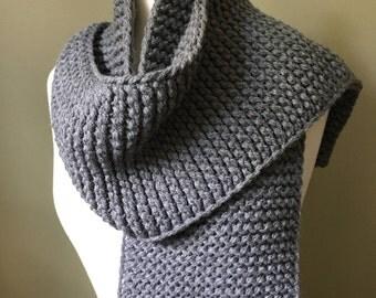 Grey hand knit scarf