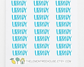 Library Stickers - 24 Hand-Lettered Planner Stickers - Mom Organization - Story Time Planning - Planner Accessories - Scheduling Tool