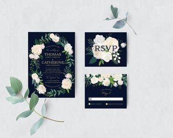Wedding Invitation Floral Invitation Suite Invitation Suites Navy Invitations Invitation Template DIY Invitation Suite Wedding