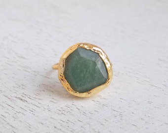 Green Aventurine Ring, Aventurine Gemstone Ring, Green Ring, Minimalist Ring, Green Stone Ring, Gold Aventurine Ring, Adjustable Ring, D4-39