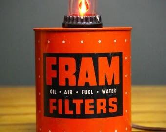 Vintage FRAM Oil Air Fuel Water Filter Cigarette Lighter Converted to Light Lighted Sign Lamp Promo Desktop Table Display Orange Black Metal