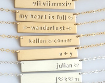 Personalized Bar Necklace\  Custom Name Plate Necklace\ Gold Name Bar\ Hand Stamped Custom Necklace\ Roman Numeral Bar Necklace\Gift for Her