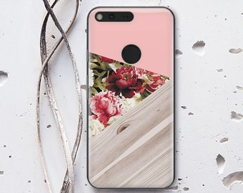Geometry Floral Case Google Pixel Case Wood Case Google Pixel XL Case Google Pixel XL 2 Case Google Pixel 2 Case Silicone Phone Case WC1184