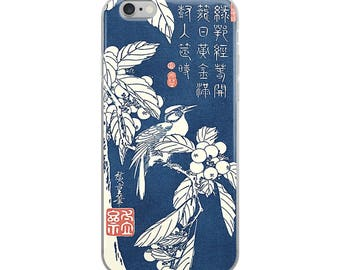 Japanese iPhone case with artist Hiroshige woodblock print bird design. Great for bird lovers and nature lovers!