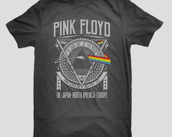 Pink Floyd Dark Side of The Moon Tour Prism Rock Pink Floyd Classic Style S-3XL Tee
