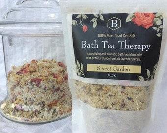 Dead Sea Salt Bath Therapy (Secret Garden).Calundua Petals,Rose Petals,Lavender Buds, Handmade,Spa Treatment,Gifts,Brendadsoap.