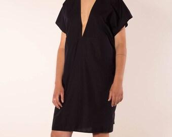 Simple, elegant dress with deep V-neck in black organic cotton, black summer dress, oversize dress black