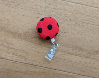 Red and Black Polka Dot Badge Reel | Retractable ID Reel | ID Badge | Name Badge Clip | Badge Pull | Nurse Badge | Retractable ID Holder