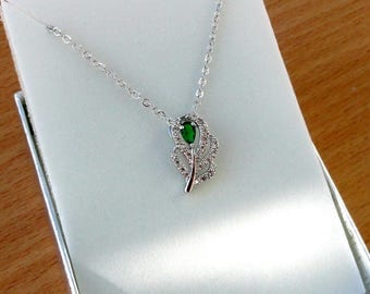 Emerald green necklace Green jewelry Gift for mother of Bride gift Birthday Gift for girlfriend Dainty necklace Emerald Feather necklace Jm