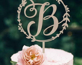 Wedding Cake Topper Wreath  Initial Wood Monogram Wedding Cake Topper  Personalized  Wedding Cake Topper  Wood Cake Topper Silver Gold