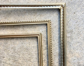 vintage metal frames set of 3 8x10 curated mismatched set thin gold brass art - Metal Photo Frames