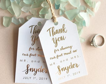Personalized Gold Foil Thank You for Sharing Our First Meal as Mr. and Mrs. Favor Cards Favor Tags for Weddings