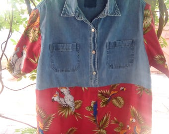 Upcycle, Upcycled, Recycle, Recycled, Denim, Hawaiian, Tunic, Shirt, Blouse