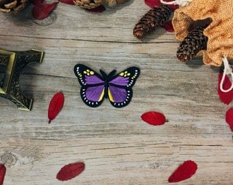 purple butterfly patch-iron on patch-embroidered patch-gorgeous-DIY-patch for jacket -girl