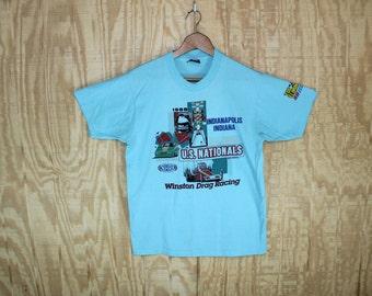Vintage 1980's 1988 Indianapolis Winston Drag Racing NHRA US Nationals 50/50 T-Shirt  T Shirt Screen Stars M