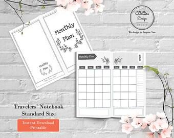 Undated Calendar Planner, Standard TN Inserts, Standard Size Inserts, Standard Travelers Notebook, Monthly Planner, Monthly Insert Planner