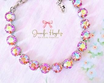 Pink Frosting 8mm 39ss Swarovski Crystal Chaton Bracelet