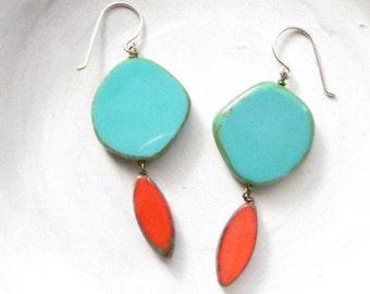 Turquoise Earrings / Statement Earrings / Chandelier Earrings / Boho Earrings / Drop Earrings / Turquoise Jewelry / Bohemian Jewelry
