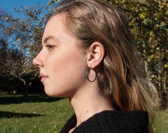 Sterling Silver Earrings, Narrow 30mm