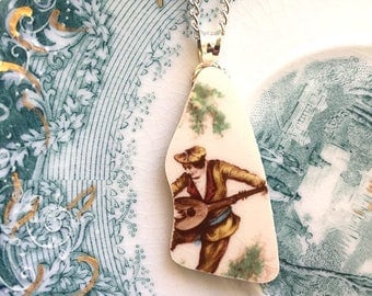 Broken china jewelry - china pendant necklace with chain - antique china shard pendant - man lute guitar serinade, from a broken plate