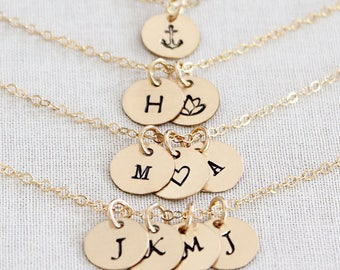 Tiny Initial Necklace, Gold Letter Necklace, Tiny Gold Initial Necklace, Gold Filled Personalized Discs, Hammered or Smooth