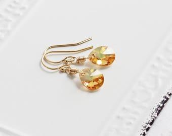Small Sunshine Metallic Yellow Crystal Teardrop Earrings on 14K Gold Filled Hooks (Swarovski Elements)