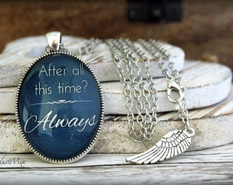 Necklace with Harry Potter quote, Severus Snape quote necklace, After all this time Always, owl necklace, vintage necklace, retro necklace