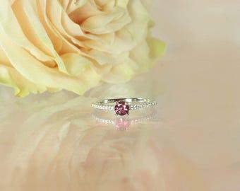 Dainty Pink Tourmaline Ring, Tourmaline Ring, Pink Tourmaline Ring, Dainty Gemstone Ring, Stackable Ring, PInk Tourmaline, Tourmaline