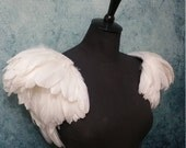 White feather epaulette shoulder pieces, white  wings, feather shoulders