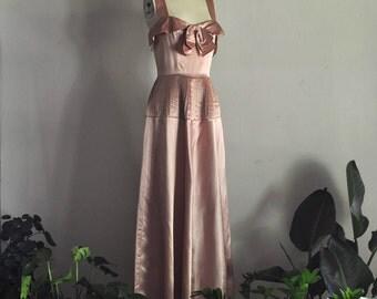 1940s dress | fleurs de cerisier | vintage rose gold satin gown