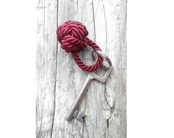 Rope knot keychain Nautical keychain Burgundy keychain