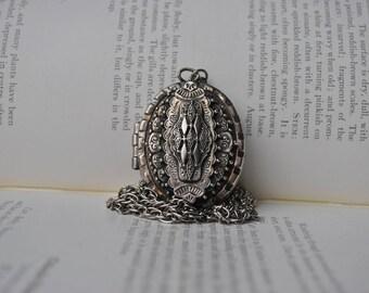 Vintage Locket, Large - 1970s Victorian Revival Locket, Extremely Detailed Locket Necklace