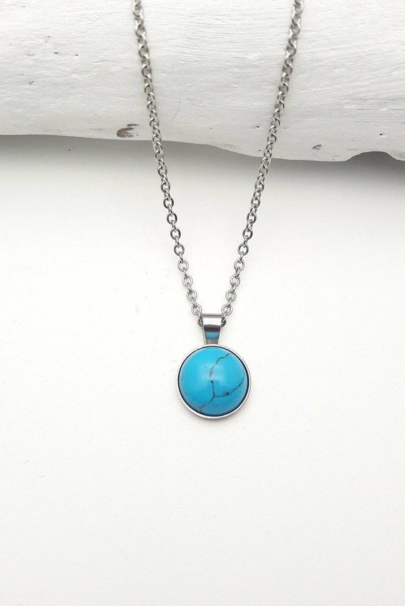 Necklace with Blue Turquoise pendant 12 mm and silver stainless steel chain hypoallergenic