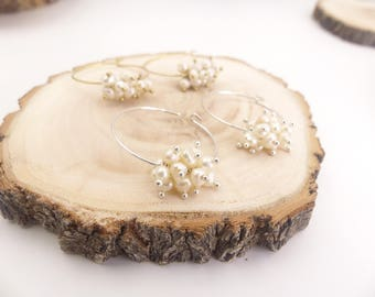 Pearl hoop earrings, Fresh water pear earrings, bridesmaid gift, wedding jewelry, mothers day gift, gift ideas for mom, birthday present