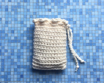 Crochet Soap Saver, Spa Soap Pouch, Cotton Soap Bag, Off White, Handmade by KathysYarnCreations