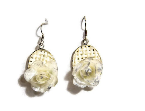 Dangle Wedding Earrings White Rose