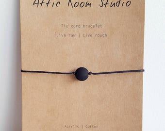 Matte Black Tie Cord Bracelet for Men, Acrylic and Cotton Cord, Minimalist Jewelry for Men, Mens Bracelet, His and Hers, Friendship Bracelet