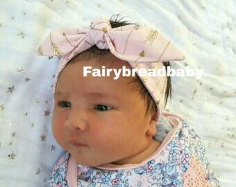 Pink and Gold Arrow headband, baby topknot, knotted headband, baby headband, baby headband bows, pink and metallic gold arrows headband
