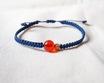 Natural Red Agate and Wood Bead Woven Bracelet, Knotted Friendship Bracelet
