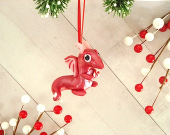 Christmas Dragon Ornament Polymer Clay Dragon Christmas Ornament Geek Christmas Ornaments Geek Gift Ideas Dragon Christmas Decoration