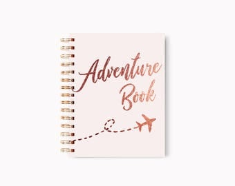 Travel journal, Travel notebook, Rose Gold journal, Foil Travel book, Luxury journal, Travelers notebook, Travelers journal, Rose gold diary