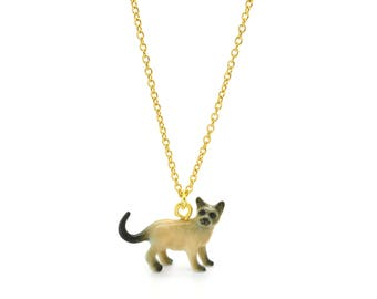 Tiny Siamese Cat Charm Necklace, Hand Sculpted/Painted Figurine, Ceramic Animal Pendant & Chain ()