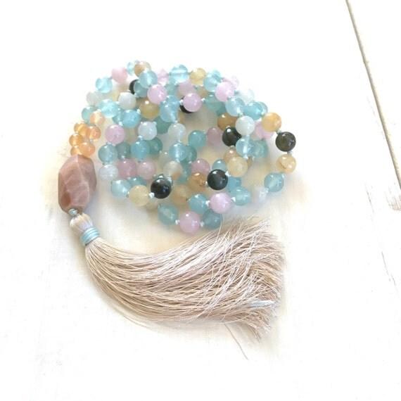 Fertility Mala Beads, Healing Mala For Women, Mala For Healing The Heart, 108 Bead Knotted Mala Necklace, Moonstone Mala, Silk Tassel