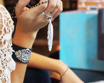 Silver Filigree Leather Cuff Snap Bracelet