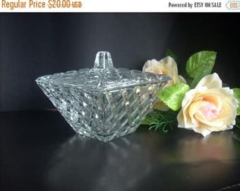 ON SALE Vintage  Glass Sugar Bowl,glass bowl of nuts